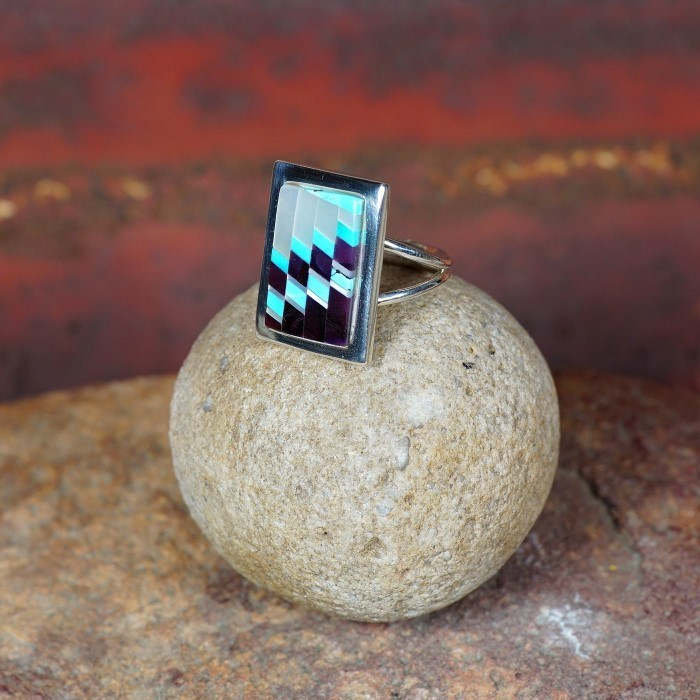 Mother of Pearl, Spiny Oyster and Sleeping Beauty Turquoise Ring by Tommy Jackson JE160069