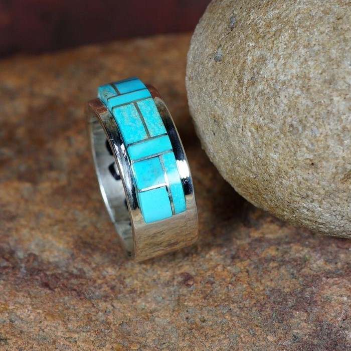 Sterling Silver Cobblestone Band with Sleeping Beauty Turquoise by Tommy Jackson JE160071