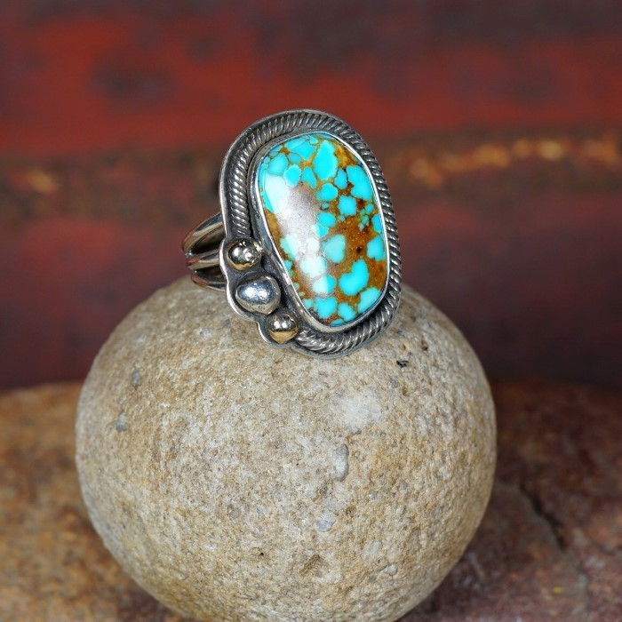 Three Drop Roped Edge Ring with Pilot Mountain Turquoise by Tommy Jackson JE160078