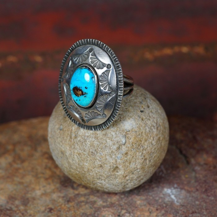 Stamped Sterling Silver Ring with Bisbee Turquoise by Tommy Jackson JE160082
