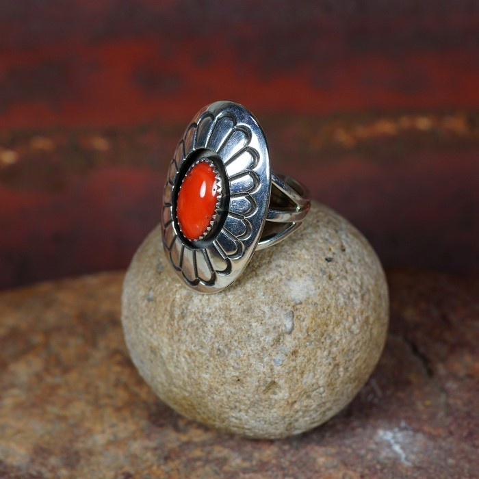 Oval Stamped Sterling Silver Ring with Coral by D. Jackson JE160085