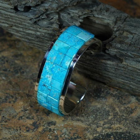 Sterling Silver Bracelet with Kingman Waterweb Turquoise by Tommy Jackson JE160090