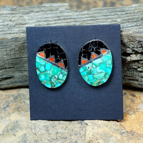 Sterling Silver Mosaic Inlay Earrings with Geometric Design by Mary Coriz JE160140