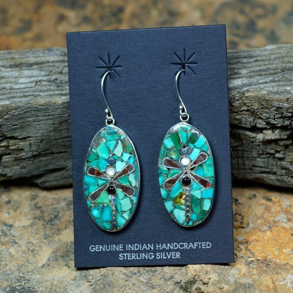 Sterling Silver Mosaic Inlay Dragonfly Earrings by Mary Coriz JE160143