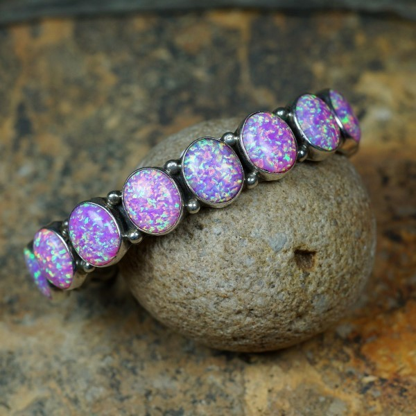Sterling Silver Bracelet with Dyed Opal by Emma Lincoln JE160147