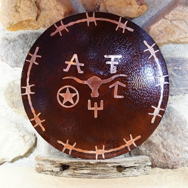 """X-Large Copper Medicine Plate - """"Western"""" GA160041"""