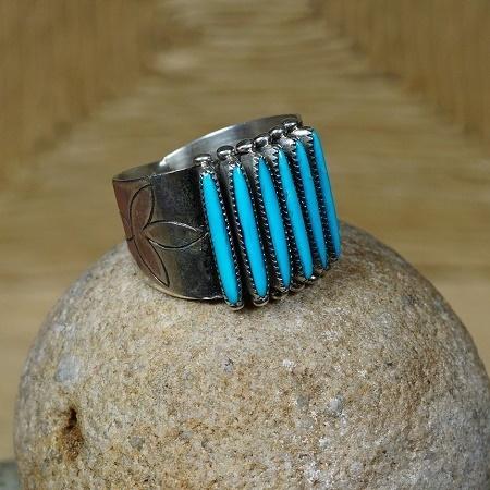 Sleeping Beauty Turquoise Needlepoint Ring by Shirley Ouam SB160292