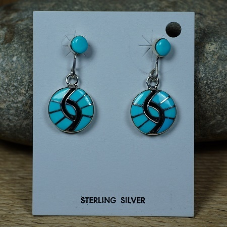 Spiral Shell Style Earrings with Sleeping Beauty Turquoise SB160304