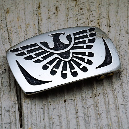 Sterling Silver Thunderbird Belt Buckle by Anderson Koinva JE160256