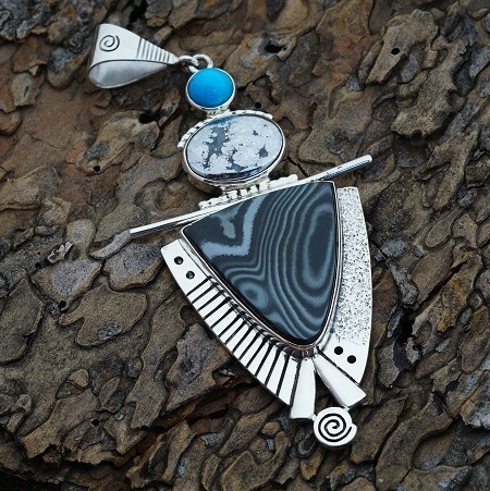 Sterling Silver Pendant with Damascus Agate, Silver Ore and Sleeping Beauty Turquoise by Tracey Designs JE160306