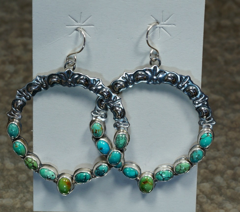 STERLING SILVER DANGLE HOOP EARRINGS WITH NEVADA GREEN TURQUOISE JE160312