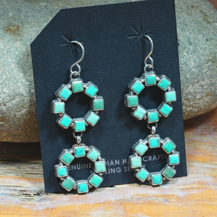 STERLING SILVER DANGLE EARRINGS WITH SQUARE CUT TURQUOISE JE160315