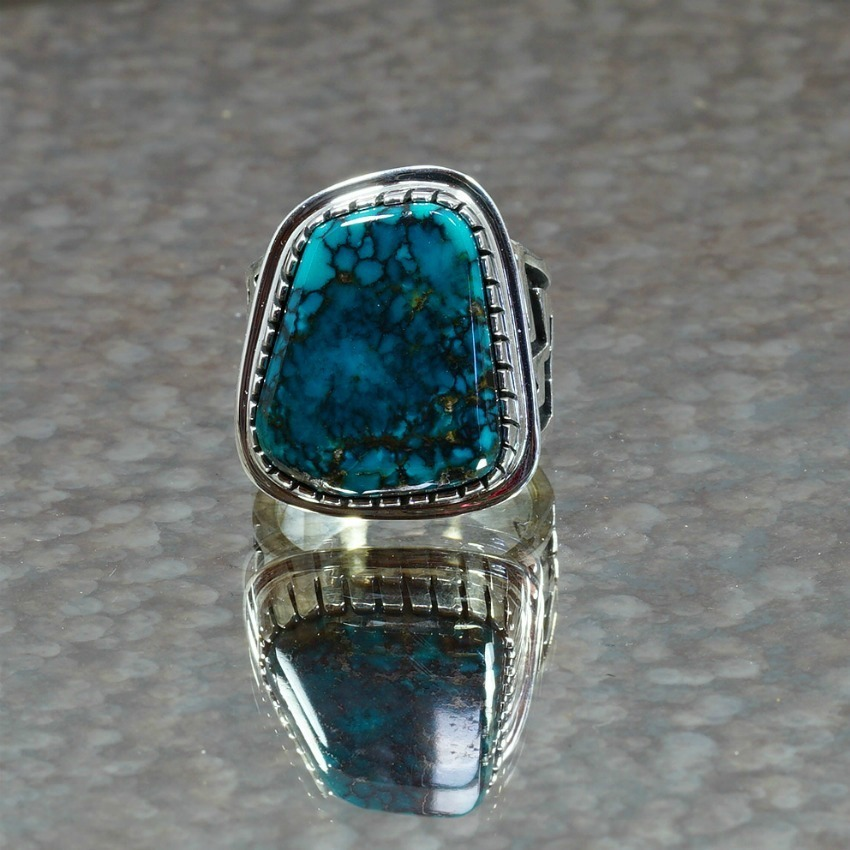Men's Sterling Silver China Mountain Turquoise Ring JE170006