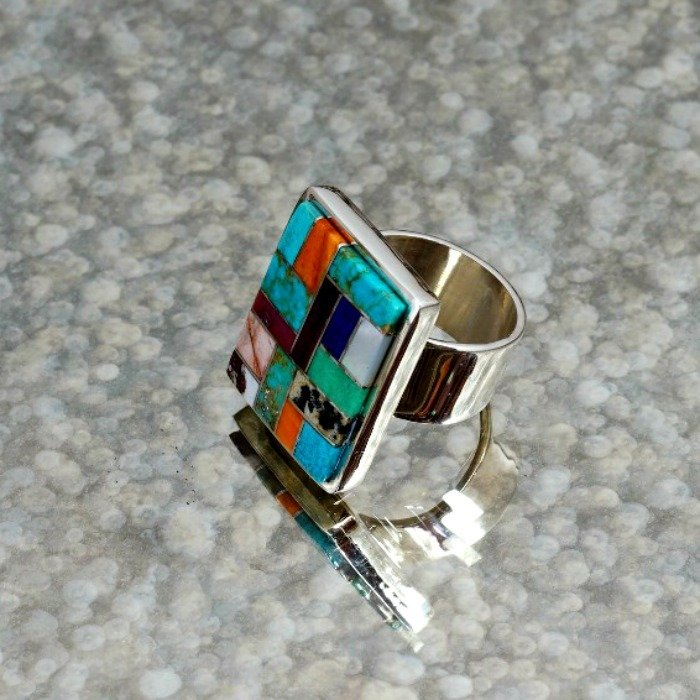 Sterling Silver Multi-Stone Inlay Ring by Tommy Jackson