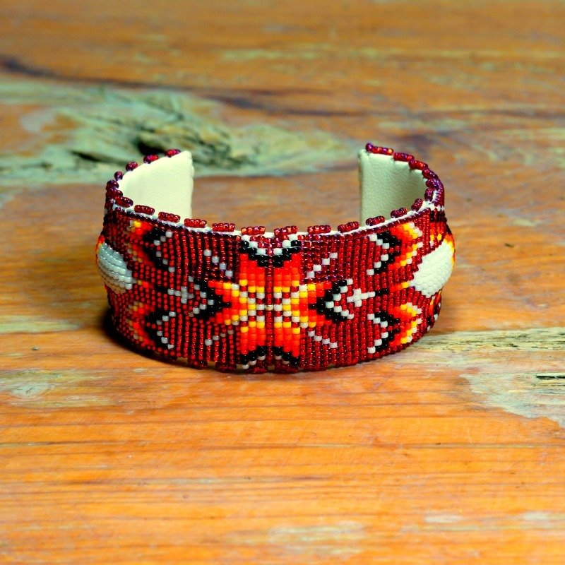 Apache Raised Design Handmade Beaded Star Burst with Feathers Cuff GA170006