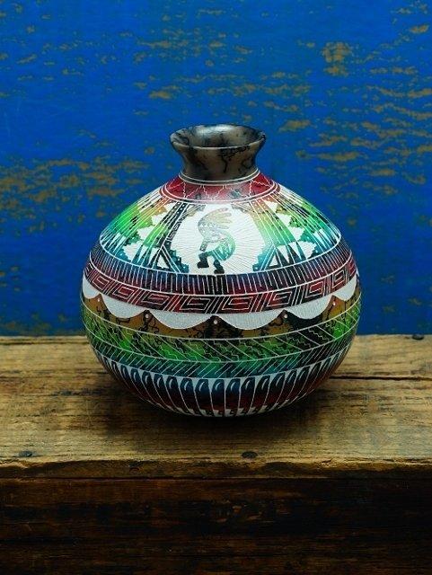 Navajo Horse Hair Pottery by Myron Charley GA170020