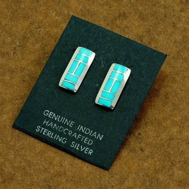 Inlaid Paver Style Sterling Silver Earrings with Sleeping Beauty Turquoise SB170008