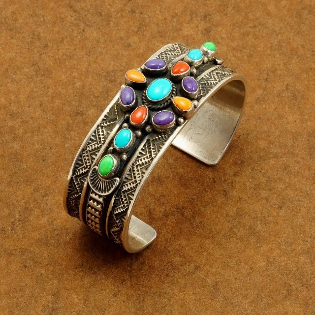 Sterling Silver Cuff Rainbow Design with Multiple Stones by Sunshine Reeves SB170012