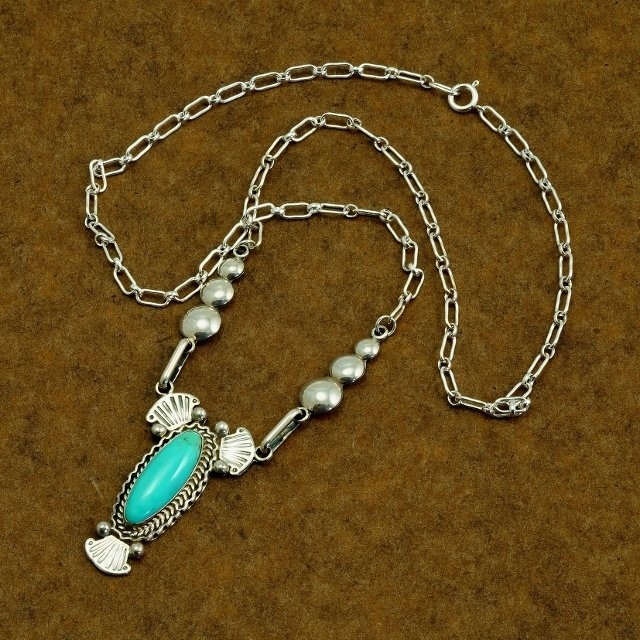 Sterling Silver Pendant Necklace with Sleeping Beauty Turquoise Cabochon SB170014