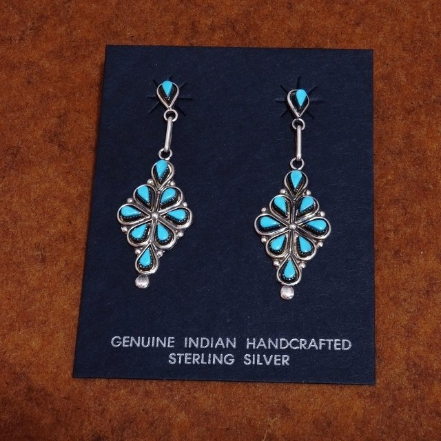 Sterling Silver Diamond Shaped Petit Point Earrings with Sleeping Beauty Turquoise SB170033