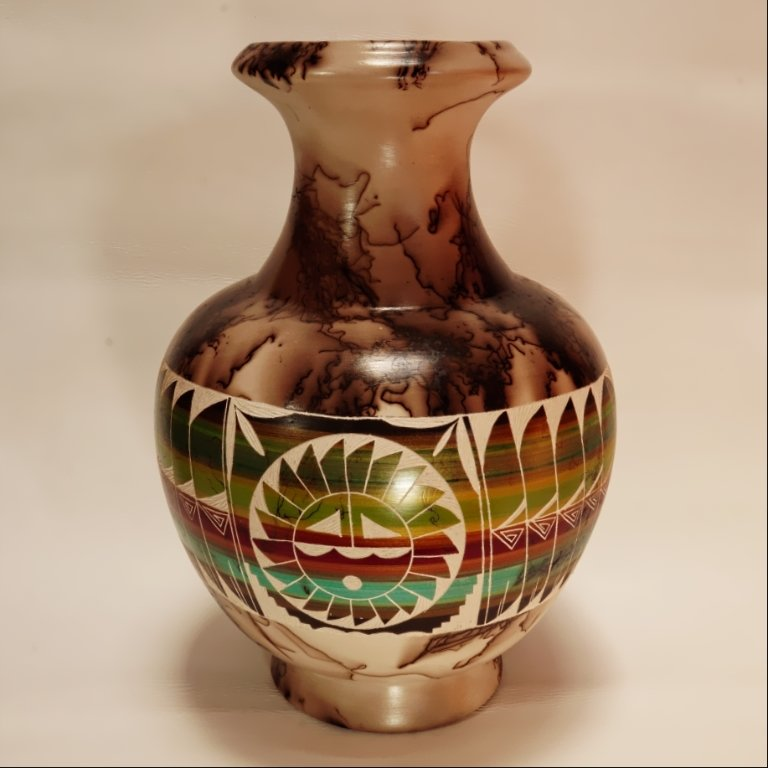 Navajo Horse Hair Vase with Hopi Sun Face by Shirley Smith GA170066