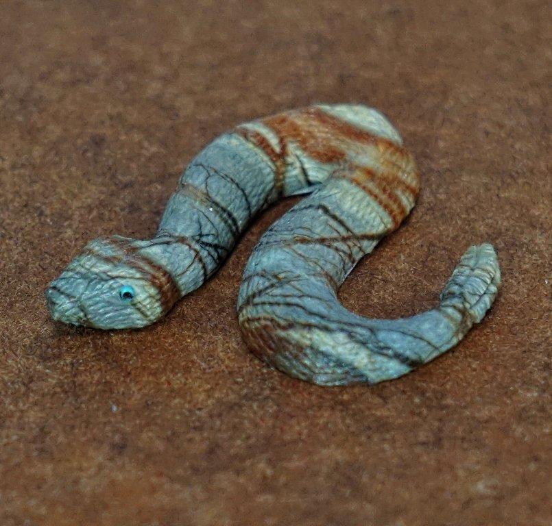 Zuni Picasso Marble Rattlesnake Fetish by Travis Lasiloo GA170076