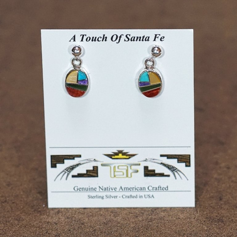 Sterling Silver Oval Inlay Earrings JE170016