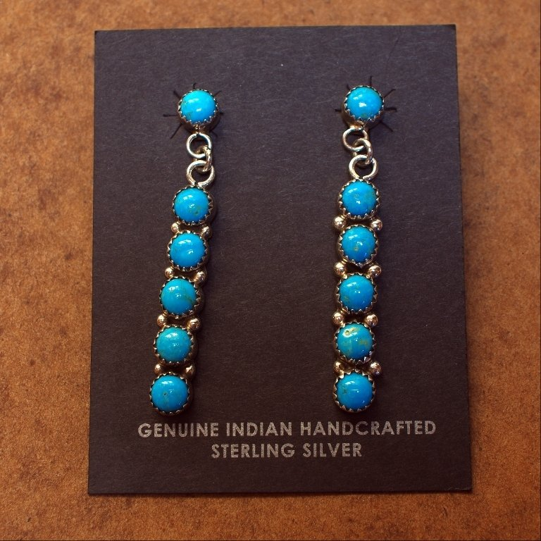 Sterling Silver Earrings with Drops of Sleeping Beauty Turquoise SB170047