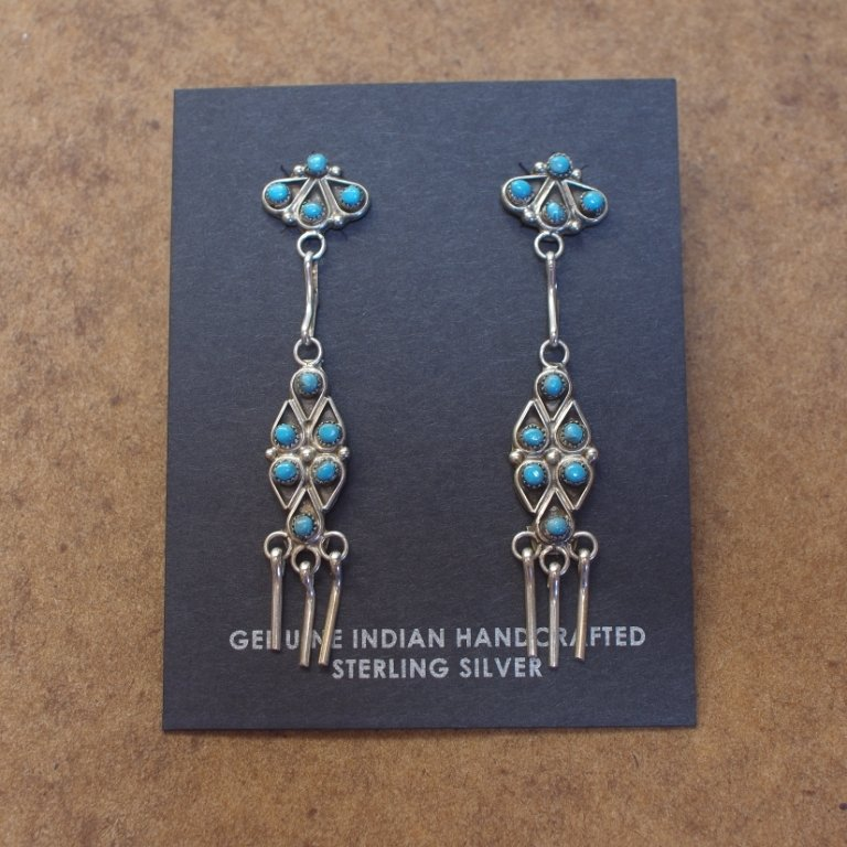 Sterling Silver Chandelier Earrings with Sleeping Beauty Turquoise SB170053