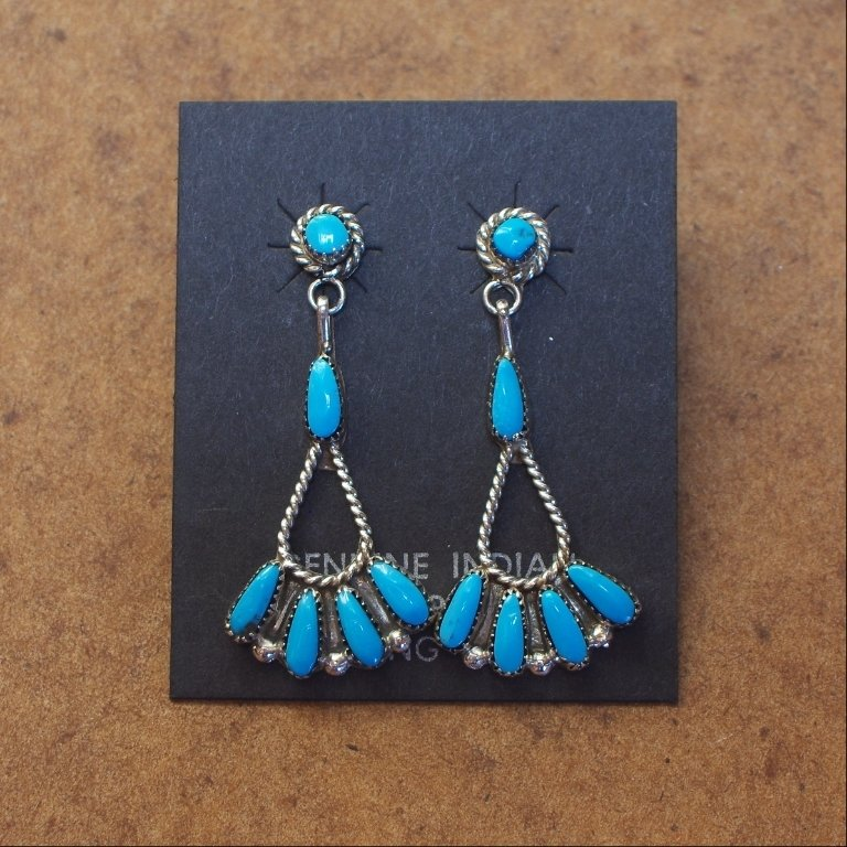 Sterling Silver Slim Teardrop Earrings with Fantails of Sleeping Beauty Turquoise SB170055
