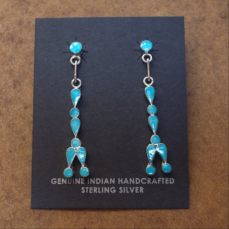 Sterling Silver Dangly Earrings of Sleeping Beauty Turquoise SB170056