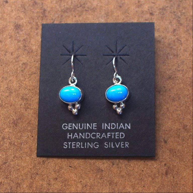Sterling Silver Earrings with an Oval of Sleeping Beauty Turquoise SB170061