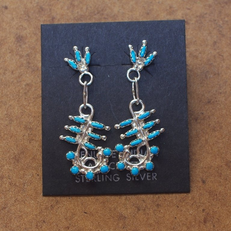 Sterling Silver Earrings Petite Point with Sleeping Beauty Turquoise SB170062