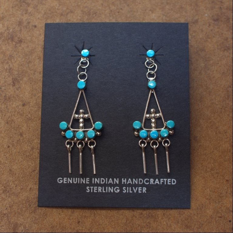 Sterling Silver Chandelier Earrings with a Cross and Sleeping Beauty Turquoise SB170065
