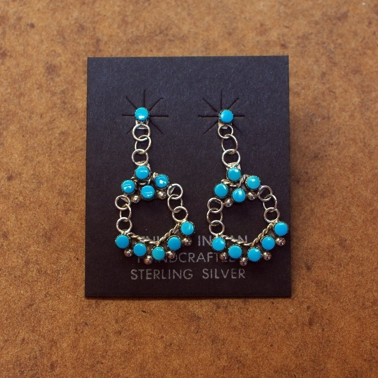 Sterling Silver Petite 10 Stone Circle Earrings with Sleeping Beauty Turquoise SB170066