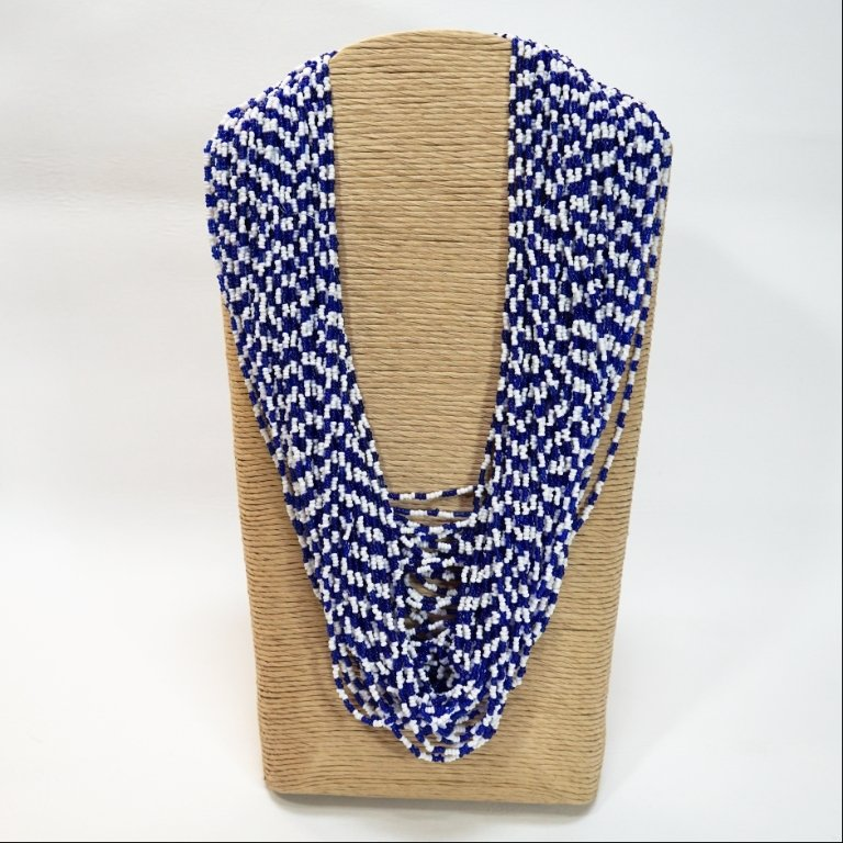 "60 Strand Blue & White Traditional Apache Beaded ""T"" Necklace GA170110"