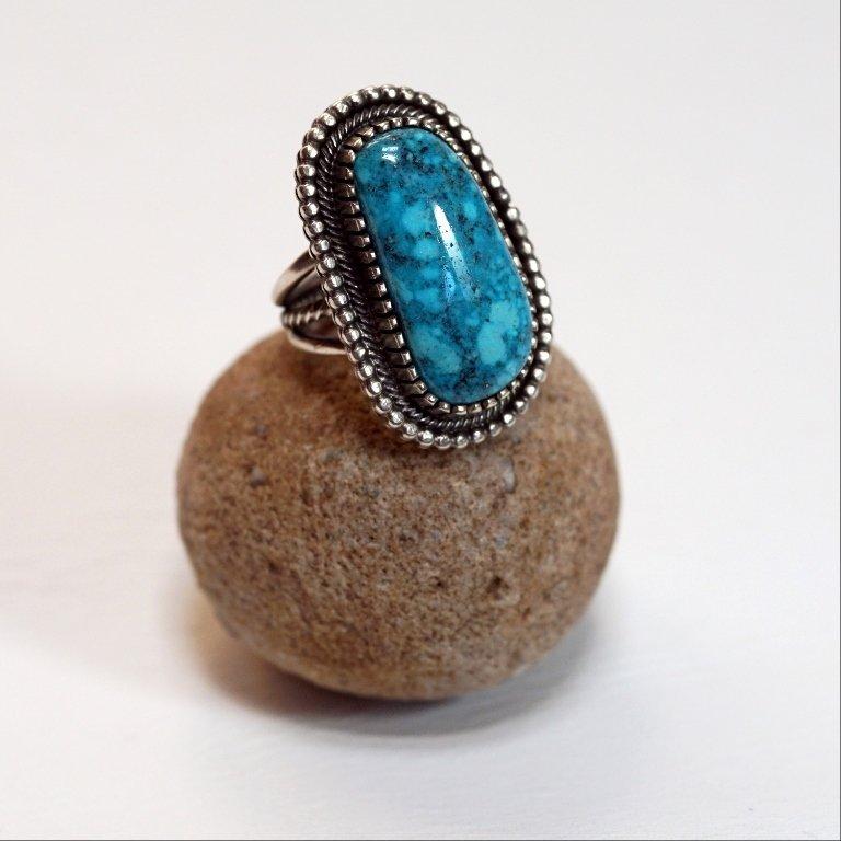 Tommy Jackson Kingman Waterweb Turquoise Ring JE170042