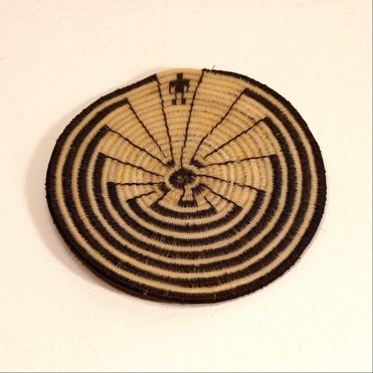 Tohono Oodham Man In The Maze Flat Horsehair Basket
