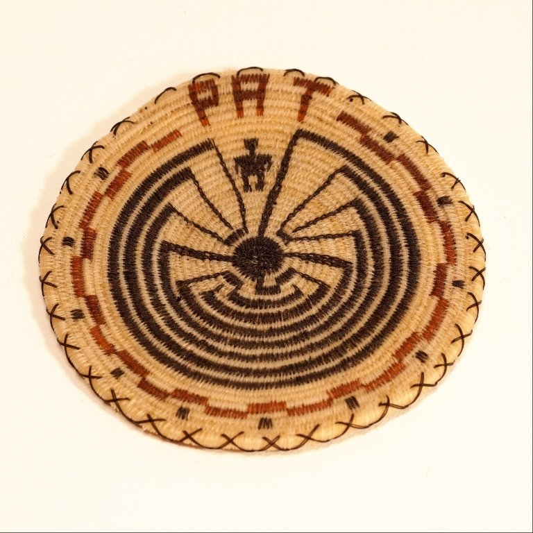 Tohono Oodham Man In The Maze Wbrown Horsehair Basket