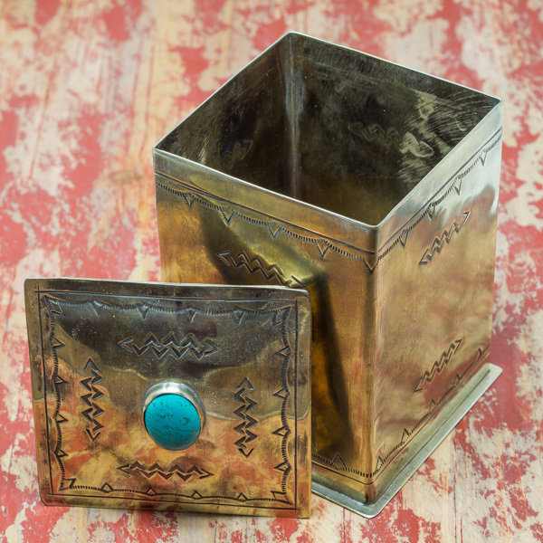 J. Alexander Box in German Silver with Turquoise
