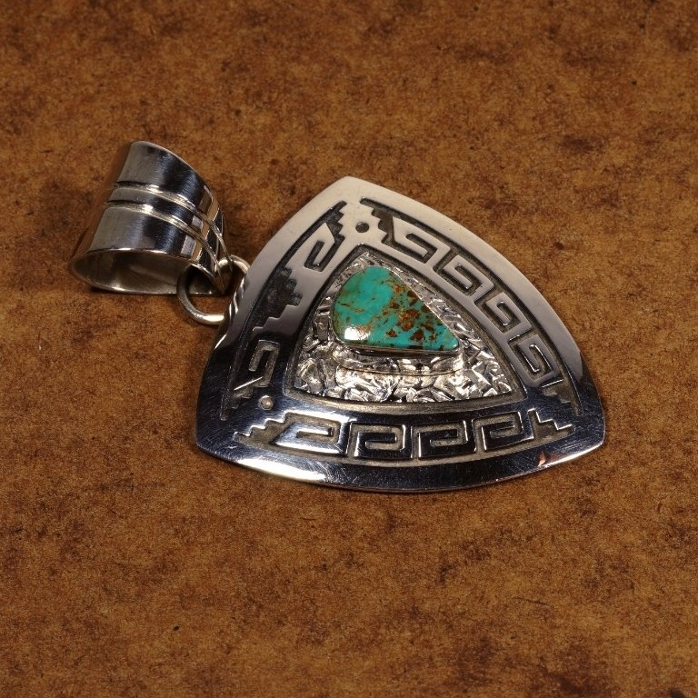 Turquoise w/Stamped Silver Pendant JE170116