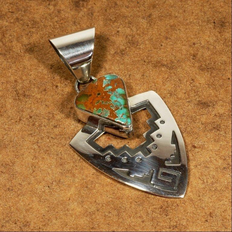 Turquoise & Silver Arrowhead Pendant JE170138
