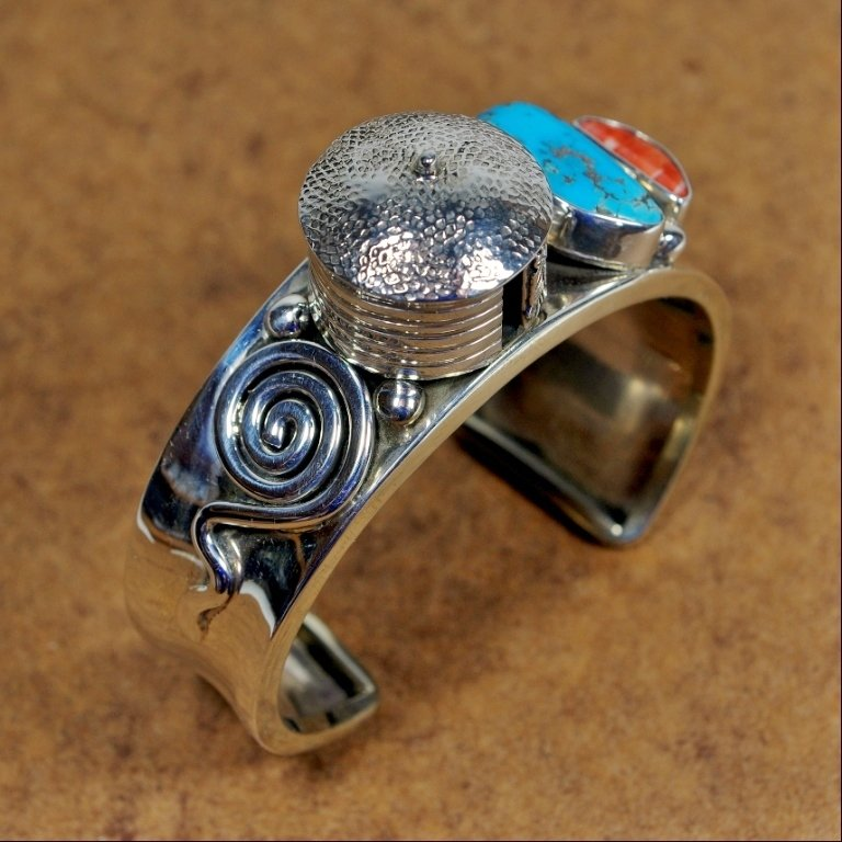 Sterling Silver Cuff with Hogan & Turquoise