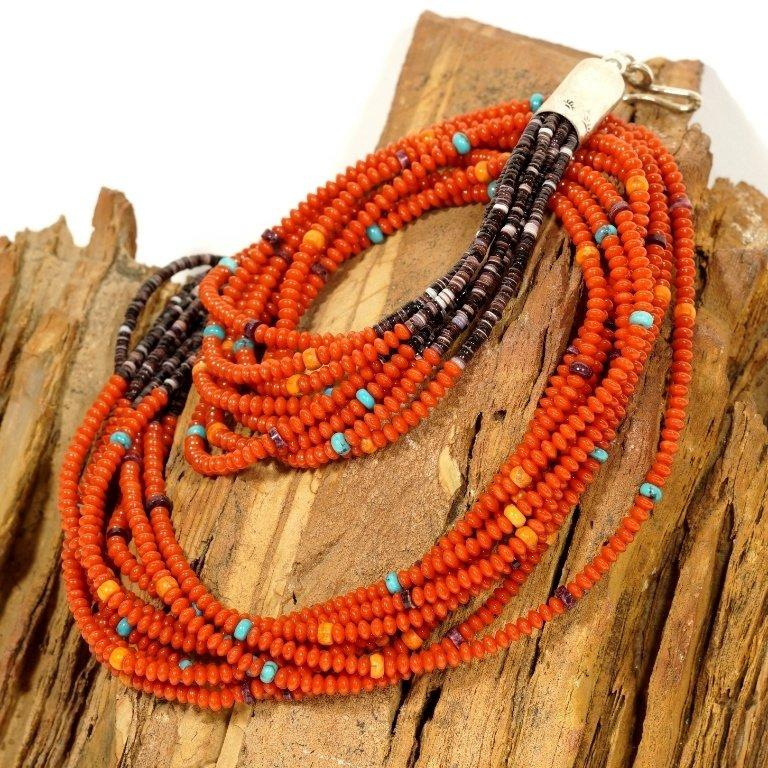 E.M. Teller Coral Heishi Necklace JE170193