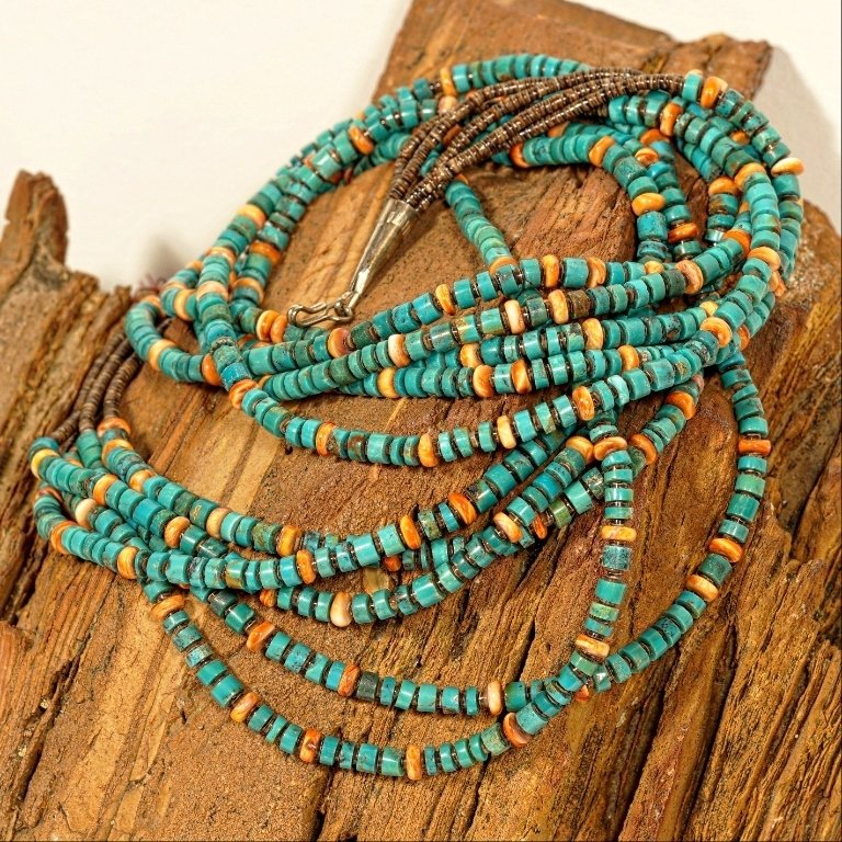 Spiny Oyster & Turquoise Heishi Necklace JE170195