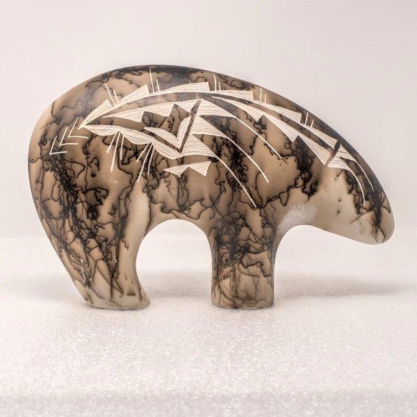 Navajo Horsehair Ceramic Bear: Black, Gray, Pink & Blue