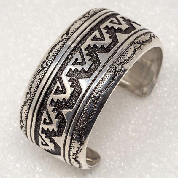 Sterling Silver Navajo Rug Pattern Bracelet by Rosita Singer JE180099