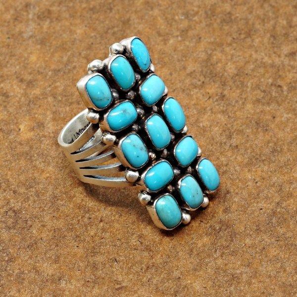 13 Stone Sleeping Beauty Turquoise Ring SB170095