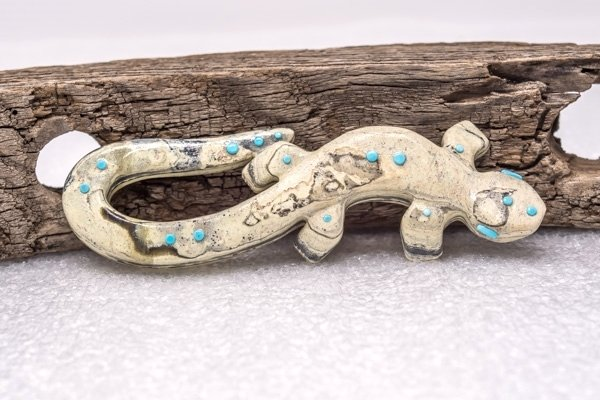Zuni Serpentine Lizard Fetish by Louis Chavez GA180011
