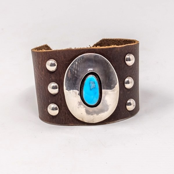 Leather Cuff with Turquoise JE180009